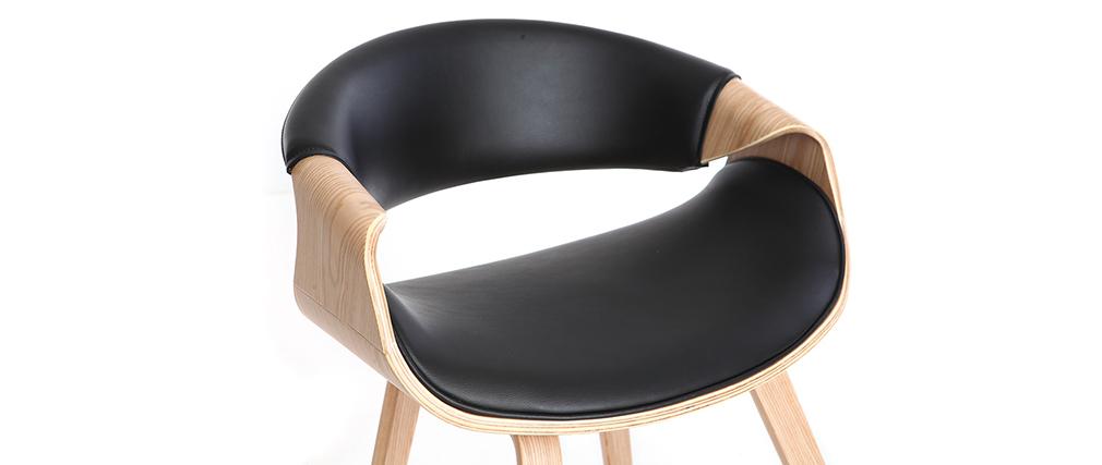 Poltrona scandinava nero e legno chiaro ARAMIS