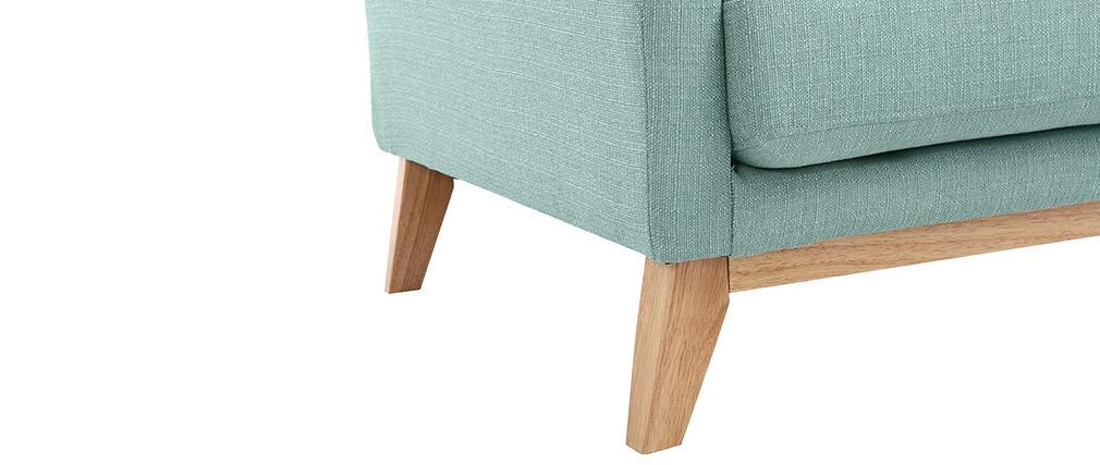 Poltrona scandinava turchese piedi in legno chiaro OSLO