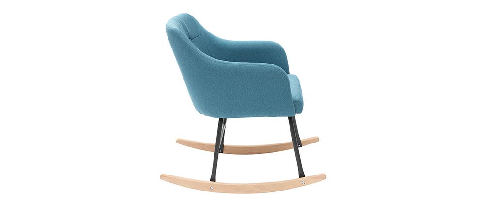 Poltrona sedia a dondolo design in tessuto blu anatra BALTIK