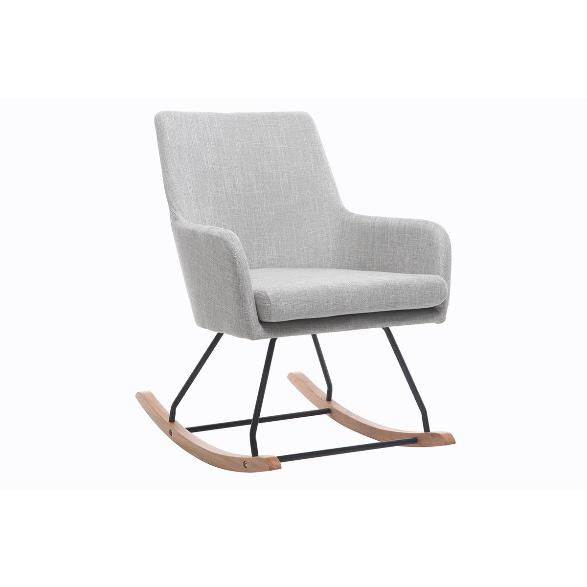 Poltrona - sedia a dondolo design in tessuto Grigio chiaro SHANA