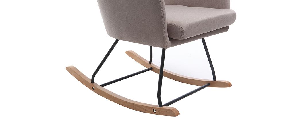 Poltrona sedia a dondolo design in tessuto naturale SHANA