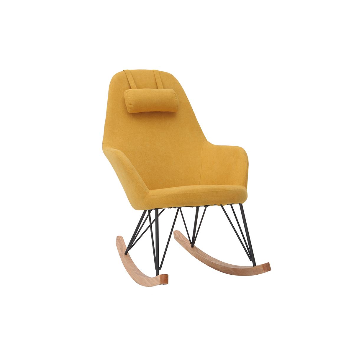 Poltrona - sedia a dondolo in tessuto giallo e piedi in metallo e legno JHENE
