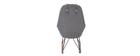 Poltrona - sedia a dondolo in tessuto grigio chiaro e piedi in metallo e legno JHENE