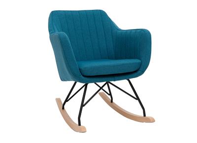 Poltrona-sedia a dondolo scandinava, in tessuto, colore: Blu anatra, modello: ALEYNA