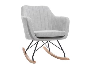 Poltrona - sedia a dondolo, scandinava, in tessuto, colore: Grigio chiaro, modello: ALEYNA
