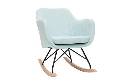 Poltrona-sedia a dondolo scandinava, in tessuto, colore: menta all?acqua, modello: ALEYNA
