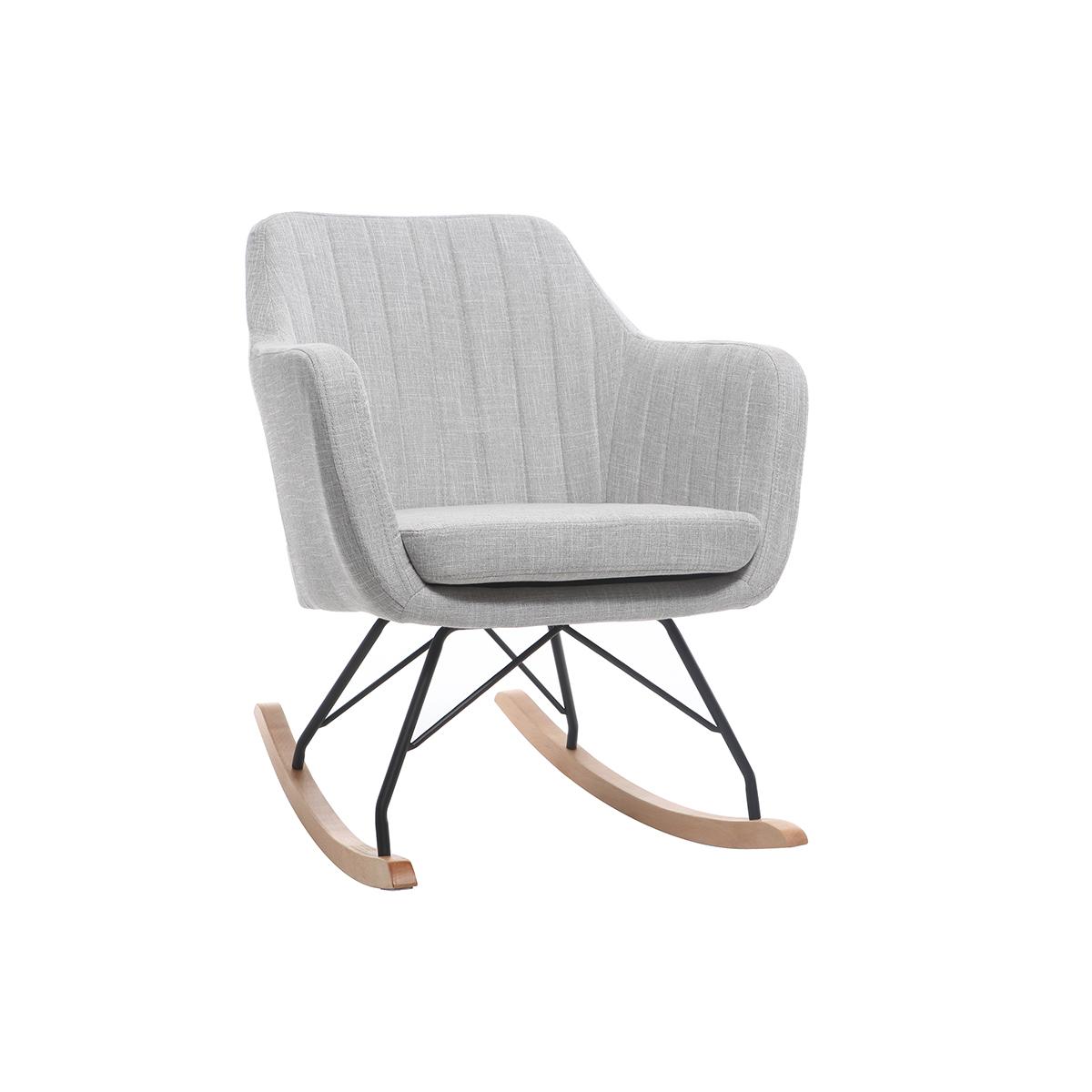 Poltrona - sedia a dondolo scandinava in tessuto Grigio chiaro ALEYNA