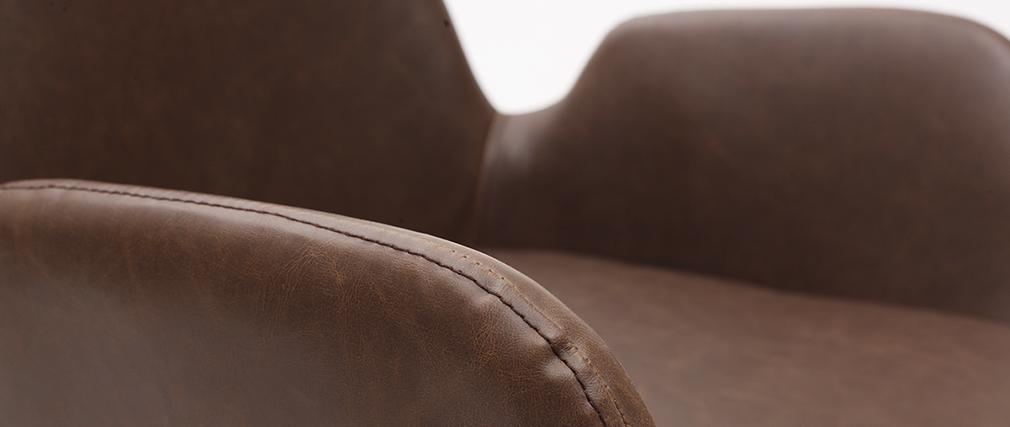 Poltrone vintage marrone scuro con piedi in metallo neri (lotto di 2) TIKA
