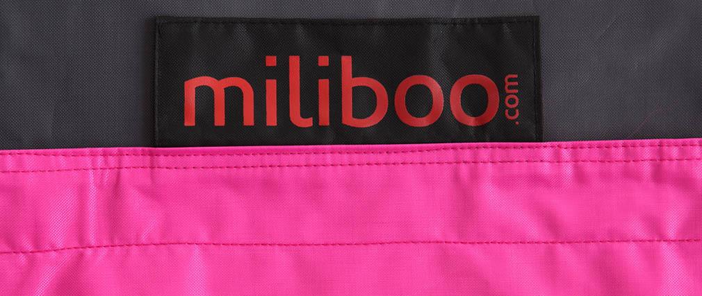 Pouf gigante design grigio e rosa BIG MILIBAG