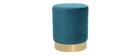 Pouf / poggiapidi rotondo in velluto blu anatra e metallo dorato AMAYA