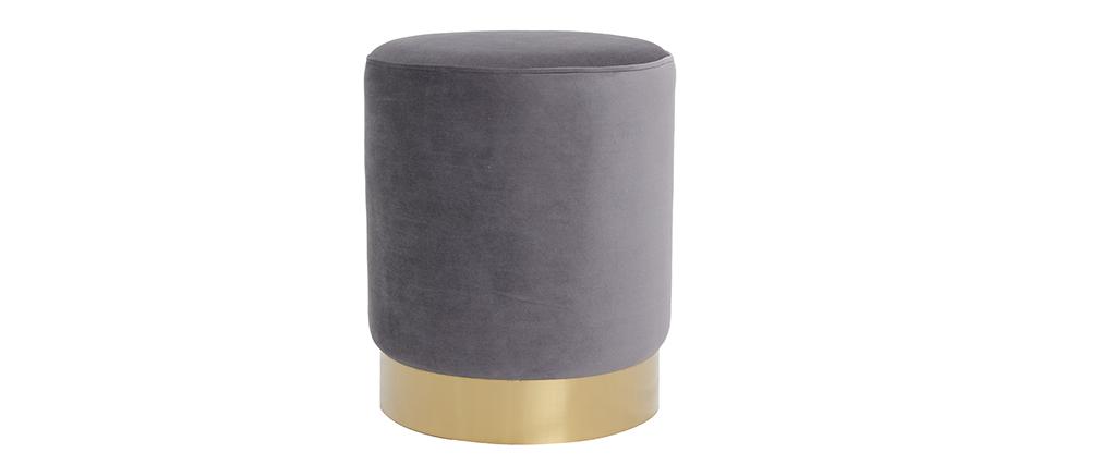Pouf / poggiapidi rotondo in velluto grigio e metallo dorato AMAYA