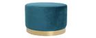 Pouf / poggiapiedi rotondo in velluto blu anatra e metallo dorato 54 cm AMAYA