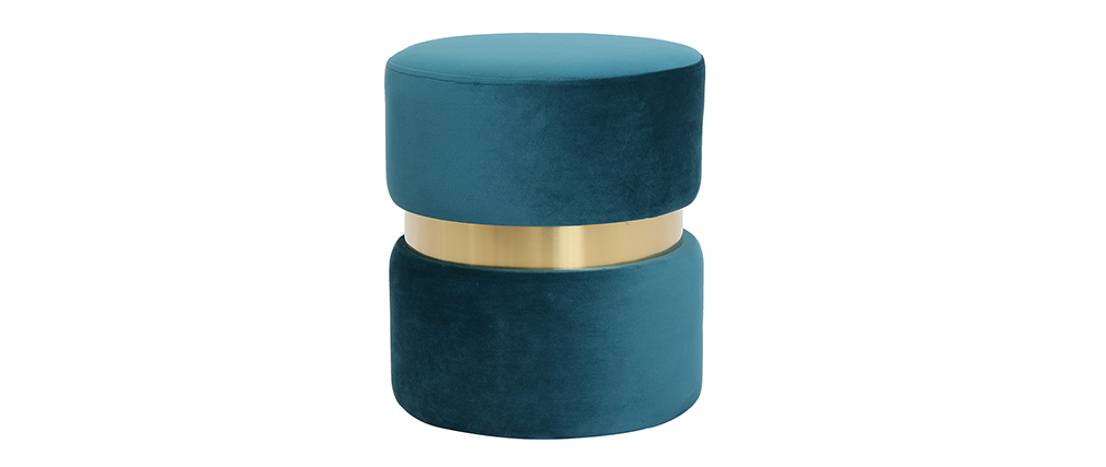 Pouf / poggiapiedi rotondo in velluto blu anatra e metallo dorato JOY