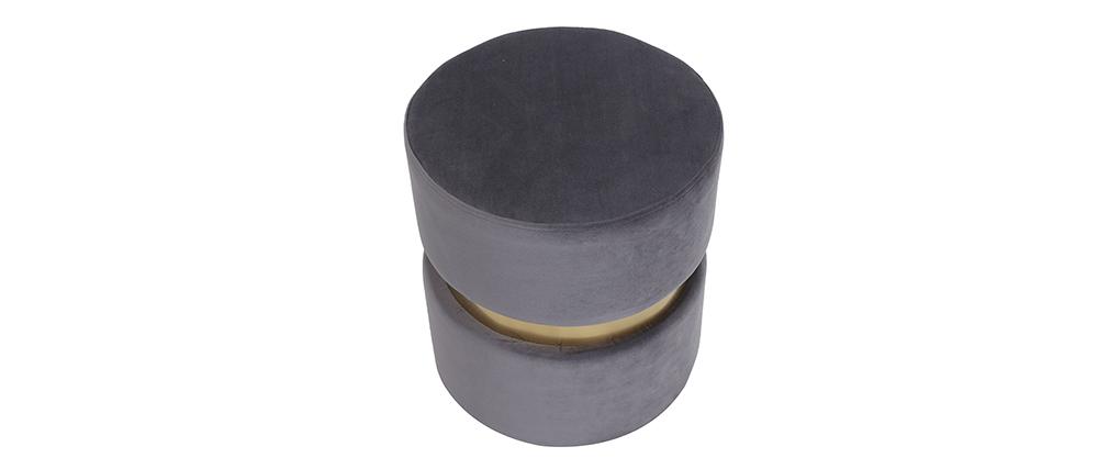 Pouf / poggiapiedi rotondo in velluto grigio e metallo dorato JOY