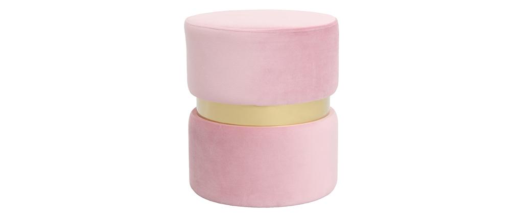 Pouf / poggiapiedi rotondo in velluto rosa e metallo dorato JOY