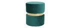 Pouf / poggiapiedi rotondo in velluto verde e metallo dorato JOY