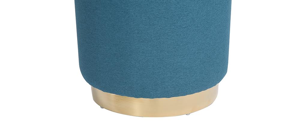 Pouf rotondo in tessuto Blu anatra e metallo dorato BETTY