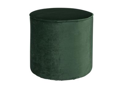 Pouf rotondo, in velluto, colore: Verde smeraldo, modello: PICKLES