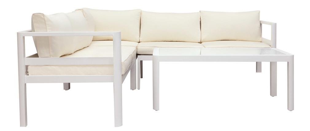 Salotto da giardino bianco con tavolino basso TONIGHT