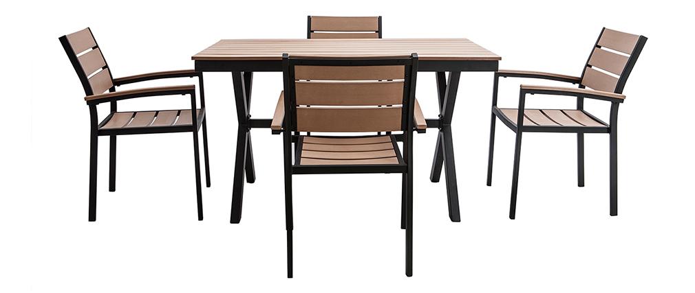 Salotto da giardino con tavola e 4 sedie nero e legno VIAGGIO