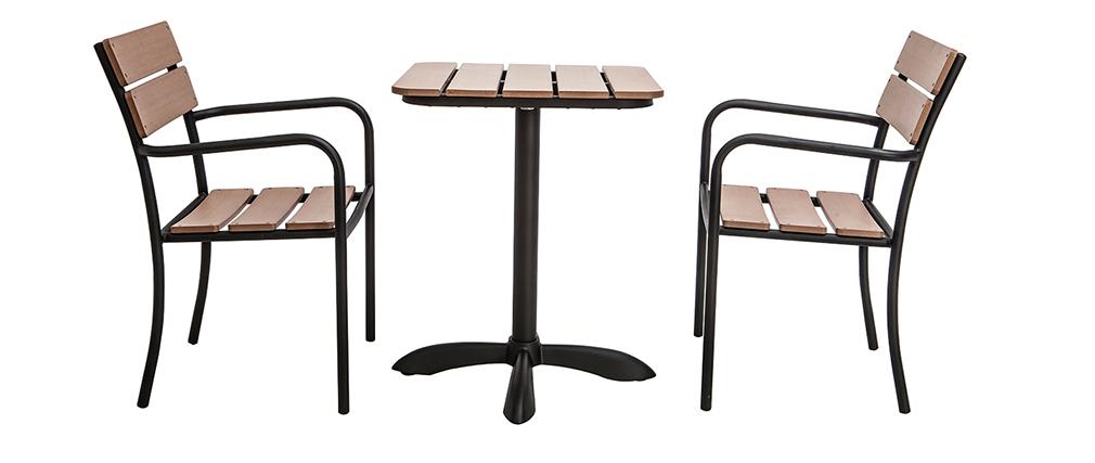 Salotto da giardino con tavolo bistrot e 2 sedie nere e legno PUB