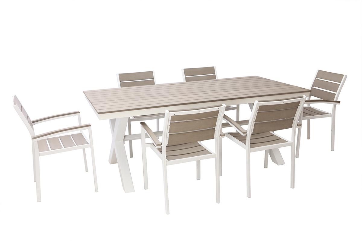 Tavolo Con 6 Sedie In Legno.Salotto Da Giardino Con Tavolo E 6 Sedie In Metallo Bianco E Legno