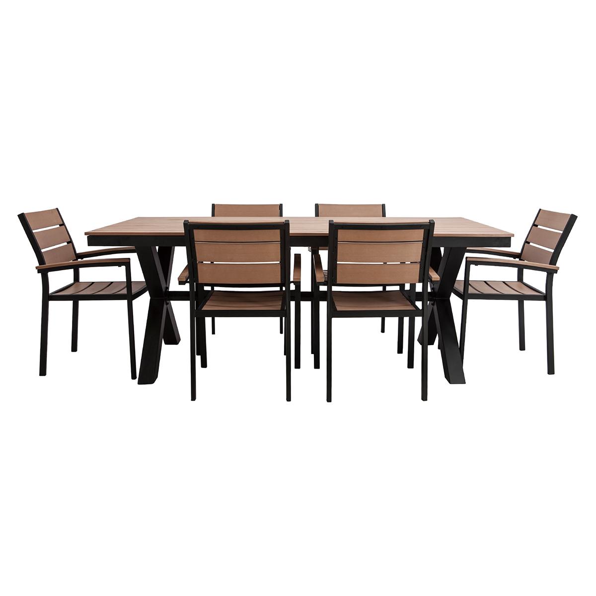 Salotto da giardino con tavolo e 6 sedie in metallo nero e legno VIAGGIO