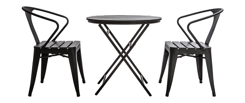 Salotto da giardino con tavolo pieghevole e 2 sedie impilabili legno e metallo BERLINER