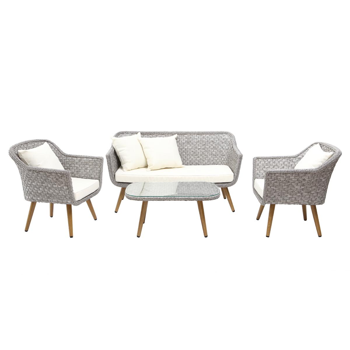 Salotto da giardino design grigio scandinavo AJACCIO