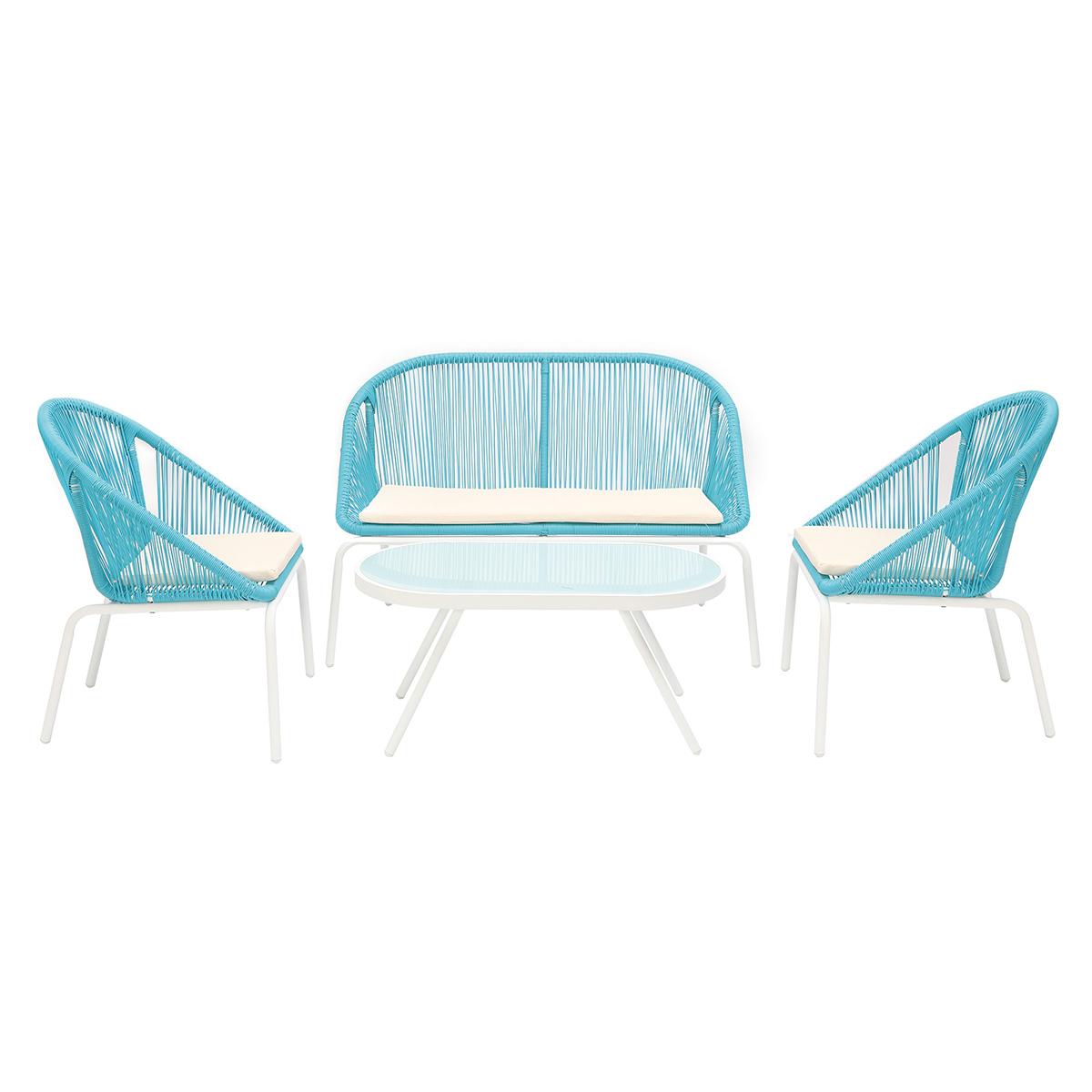 Salotto da giardino design in resina sintetica blu SUNNY