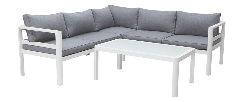 Salotto da giardino grigio scuro con tavolino basso TONIGHT