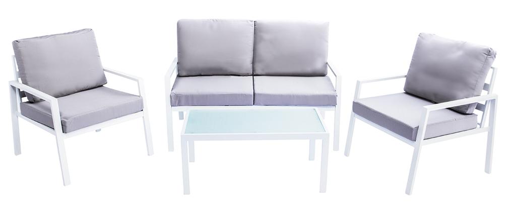 Salotto da giardino in metallo bianco con tavolo, banco e 2 poltrone CALA