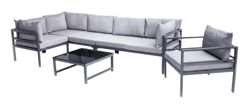 Salotto da giardino in metallo con tavolo, divano angolare e poltrona SALENTO