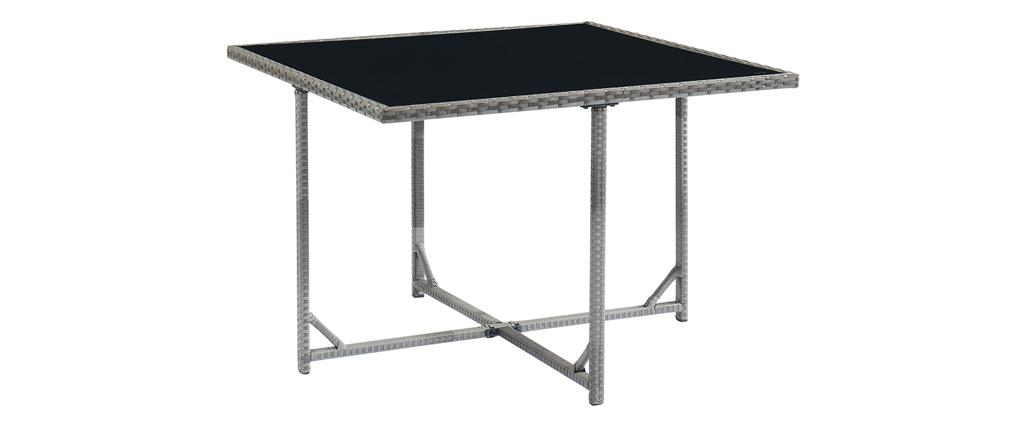 Salotto da giardino in resina intrecciata grigio con tavolo, poltrone e pouf CORDOBA