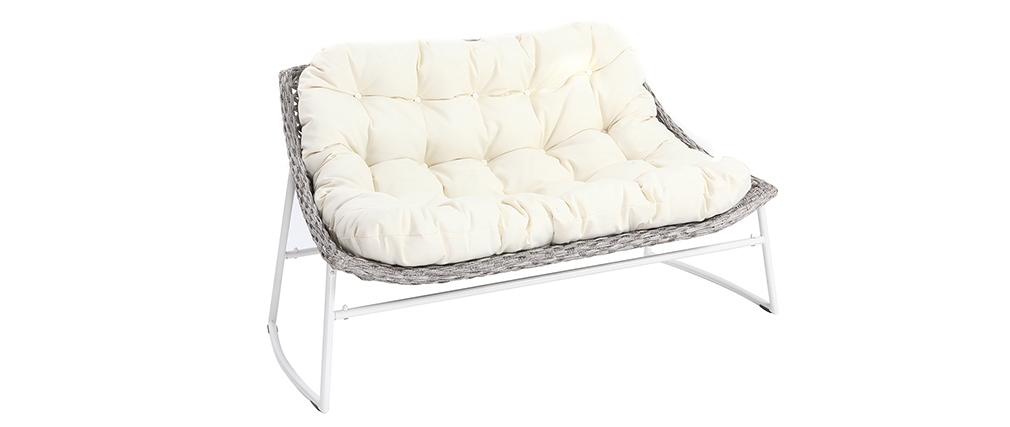 Salotto da giardino in resina intrecciata grigio e bianco con tavolino basso modello COMFY