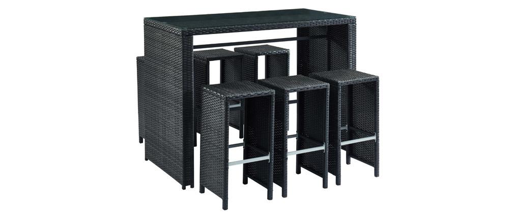 Salotto da giardino in resina intrecciata nera con tavolo e 6 sedie alte CANCUN