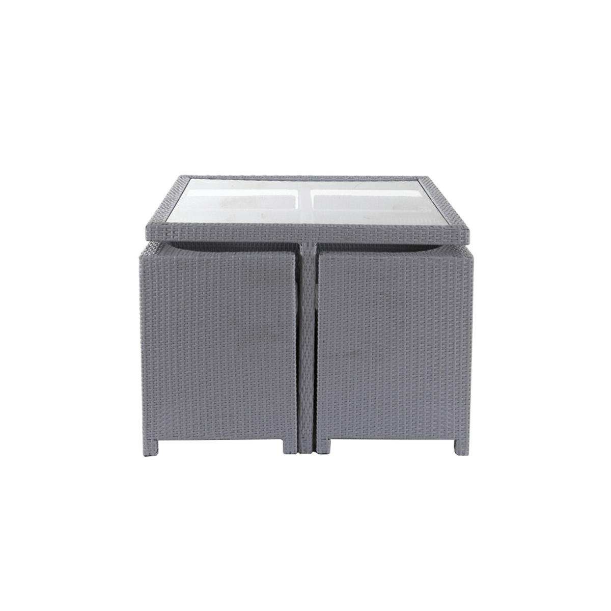 Salotto da giardino in resina intrecciata / tavolo e sedie colore grigio STILE GRECO