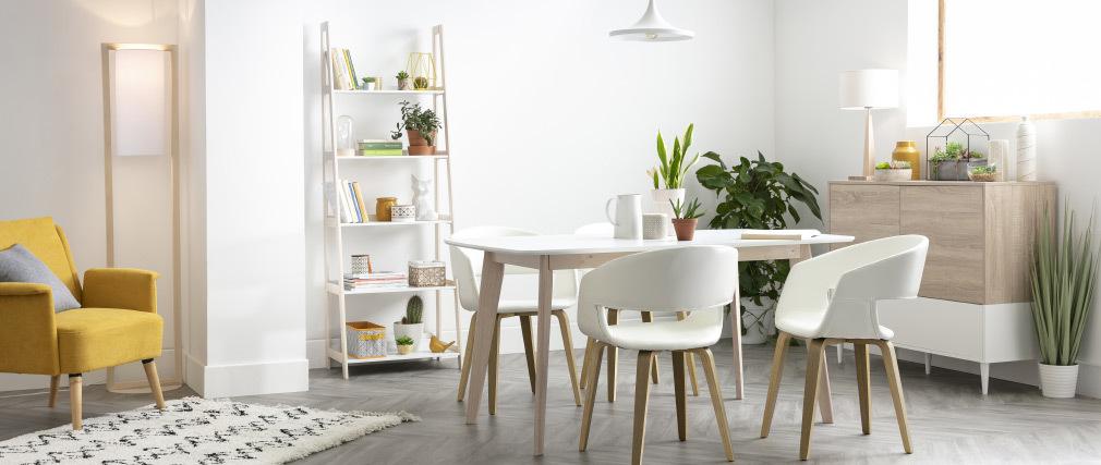 Scaffale con scalette scandinavo legno chiaro e bianco WILO
