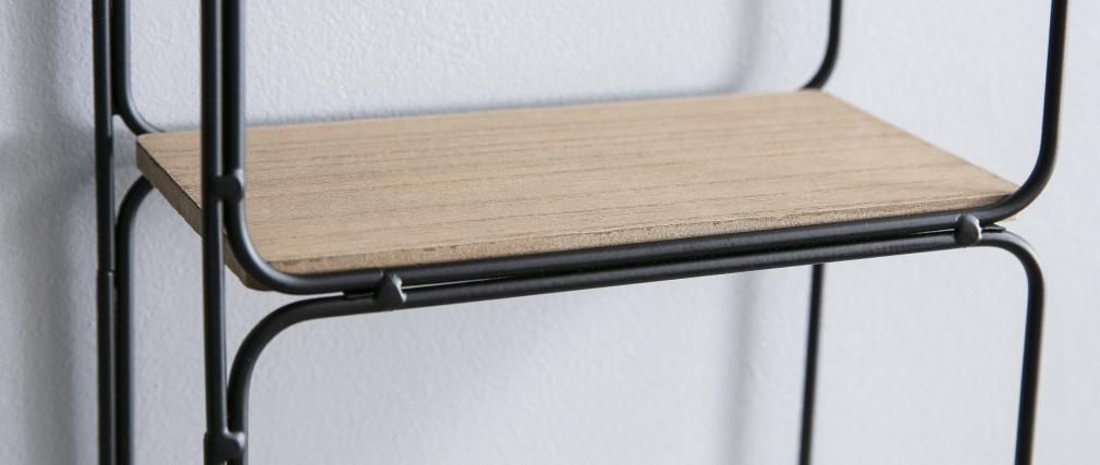 Scaffale da parete design in metallo Nero e Legno BRICK