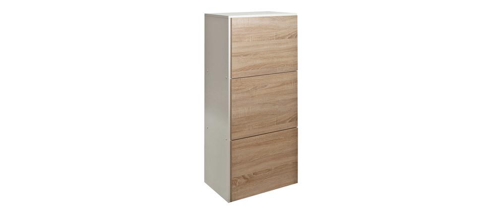 Scarpiera design bianca e legno 3 porte BOBBY