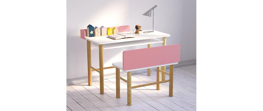 Scrivania bambino con banco rosa e legno chiaro BERTY