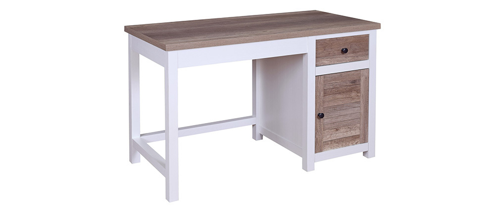 Scrivania con spazi per riporre i propri oggetti in legno Bianco PAGNOL