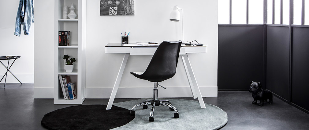 Scrivania connessa multimediale in vetro nero e metallo bianco CLEVER