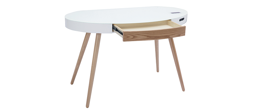 Scrivania connessa multimediale - Vetro bianco e legno chiaro HANDY
