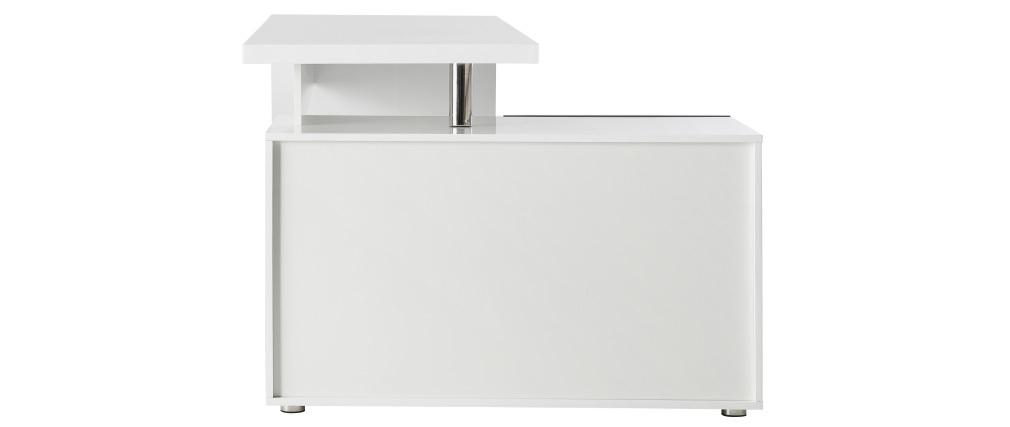 Scrivania design bianca e nera laccata cassetti lato sinistro MAXI