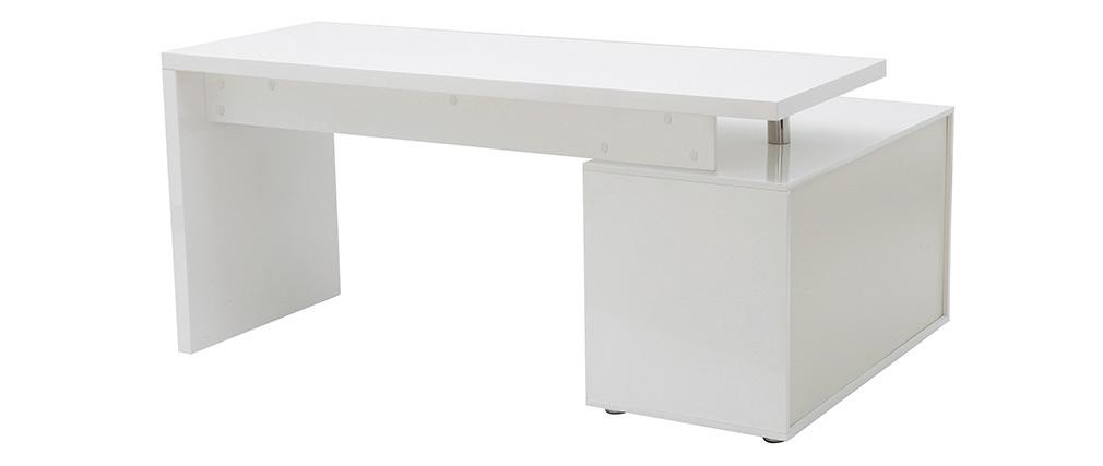 Scrivania design bianca laccata cassetti lato sinistro MAXI