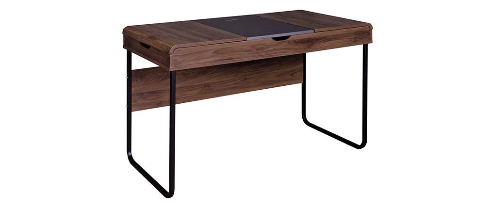 Scrivania design con ripiano scorrevole in legno Grigio QUINT