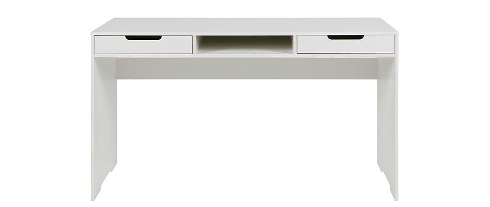 Scrivania design in abete bianco sporco 2 cassetti HARVARD