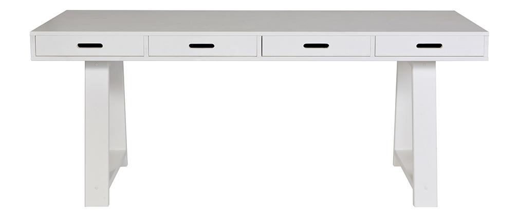 Scrivania design in legno bianco 4 cassetti reversibili L178 ARCOS