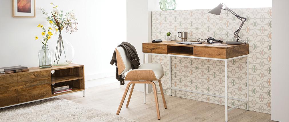 Scrivania design in legno di mango e metallo bianco BOHO